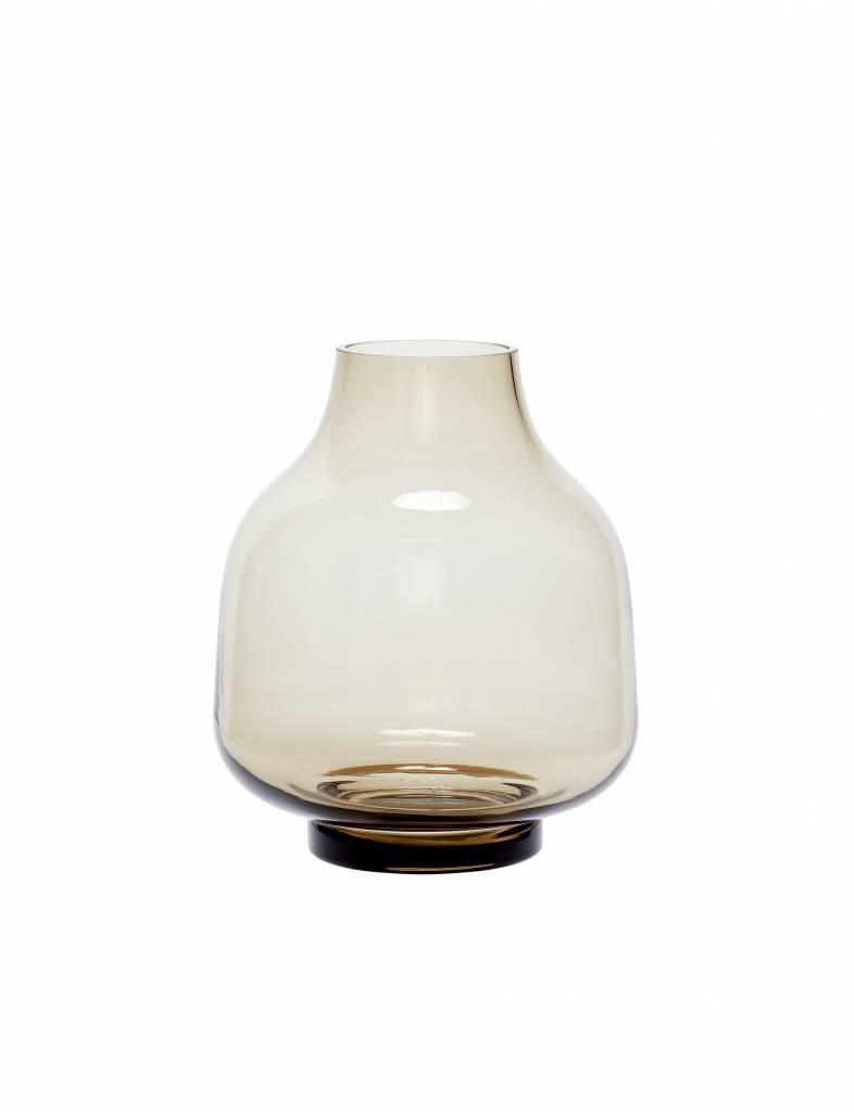 Bruine glazen vaas breed - Hübsch