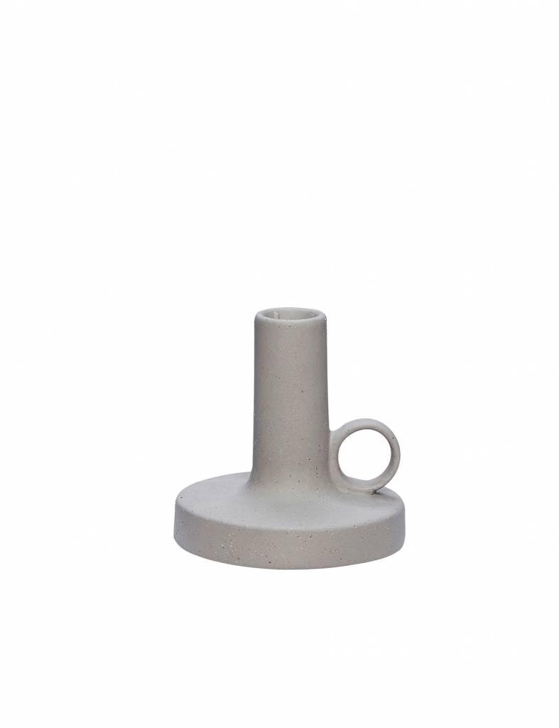 Kandelaar grijs in keramiek klein - Hübsch
