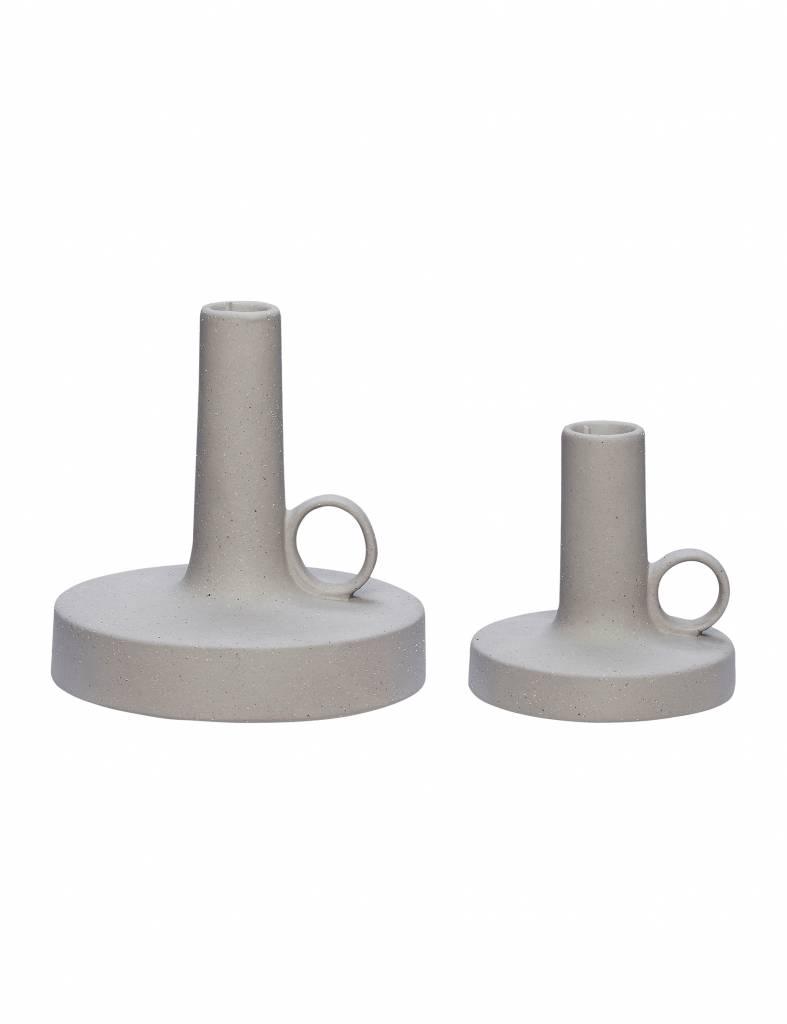 Kandelaars grijs in keramiek klein - Hübsch - Set van 2