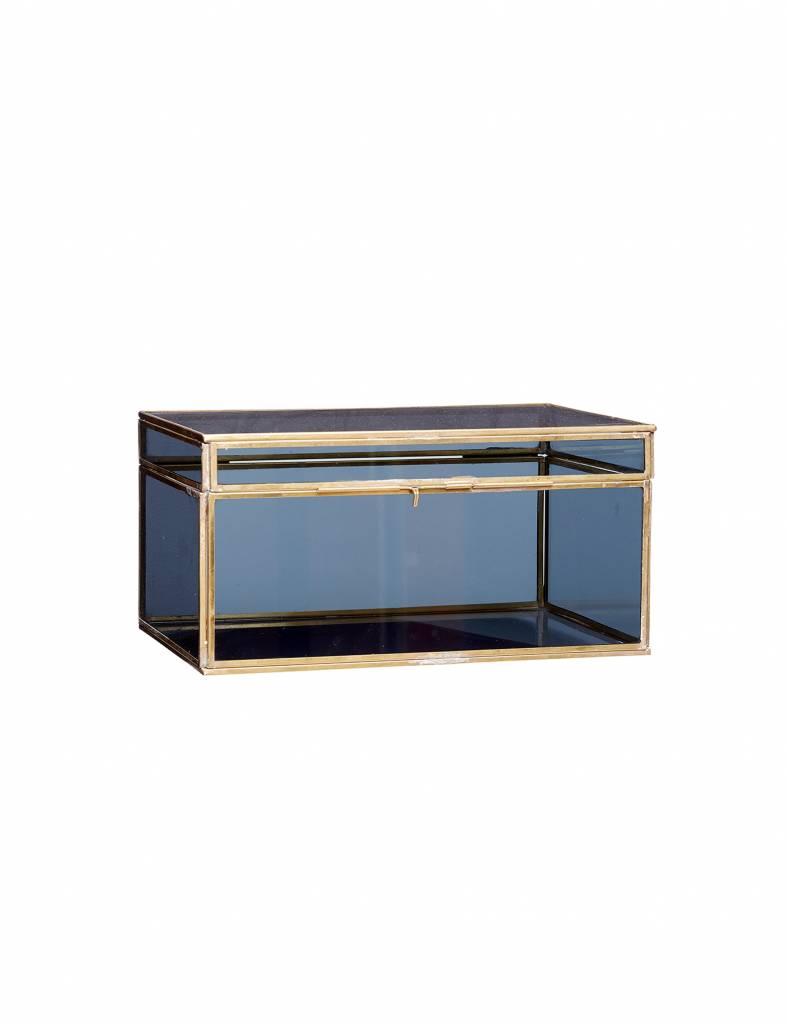 Glazen kist blauw-goud set van 2 - Hübsch