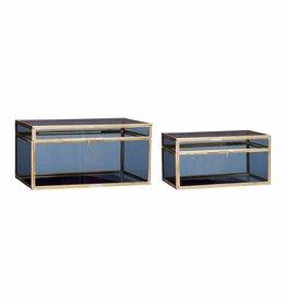 Glazen kist blauw-goud set