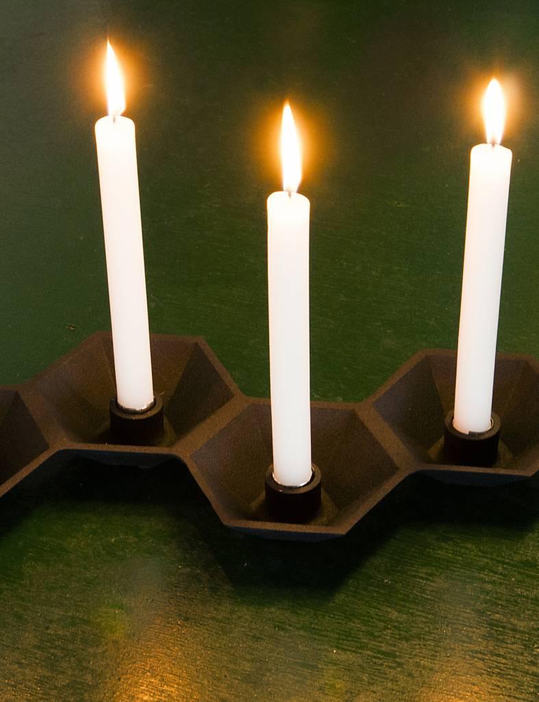 Zwarte stoere kandelaar van Present time voor 4 kaarsen