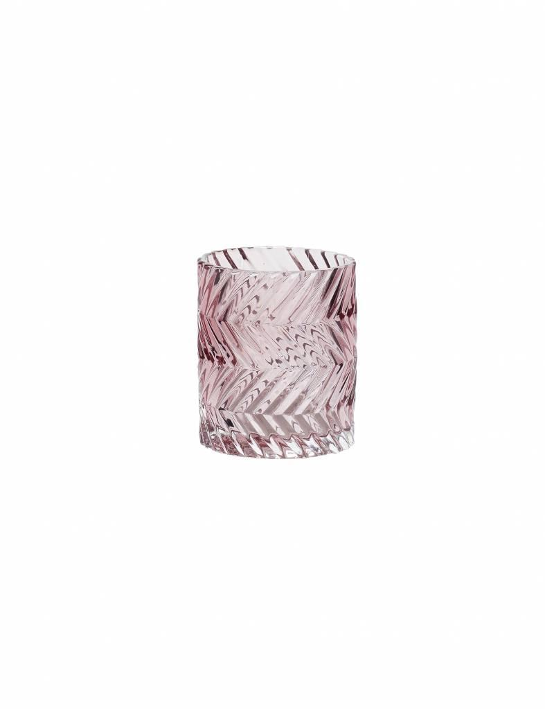 Glazen theelicht in roze van Hübsch