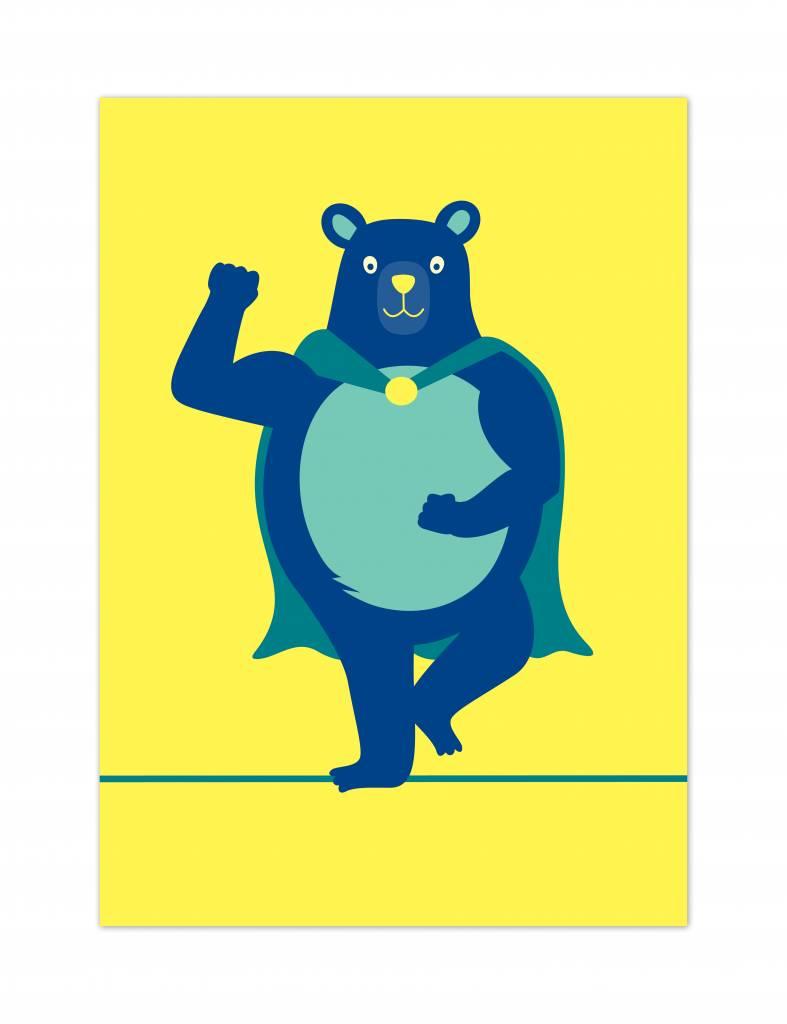 Wenskaartenset Superhelden: beer, aap & konijn