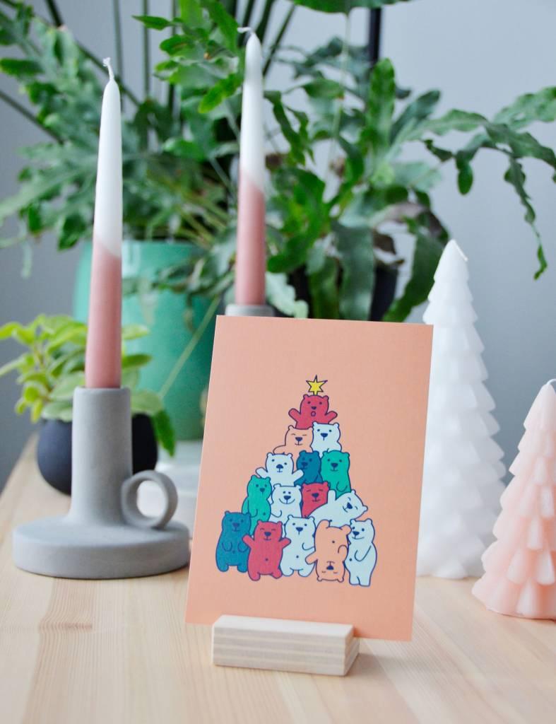 """Wenskaart - Kerst - """"Beren-kerstboom""""-humor"""