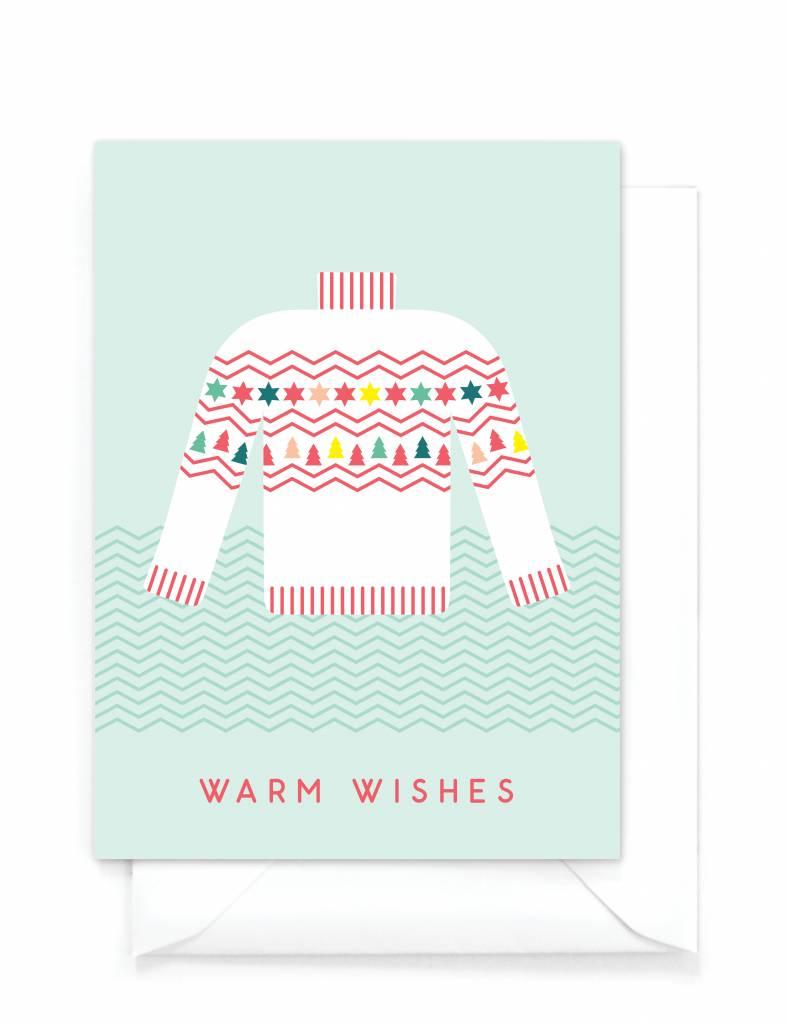 "Grappige kerstkaart  ""Kersttrui"" - Warm wishes"