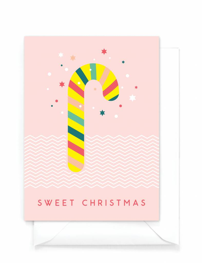 "Grappige kerstkaart  ""Candy cane"" - Sweet Christmas"