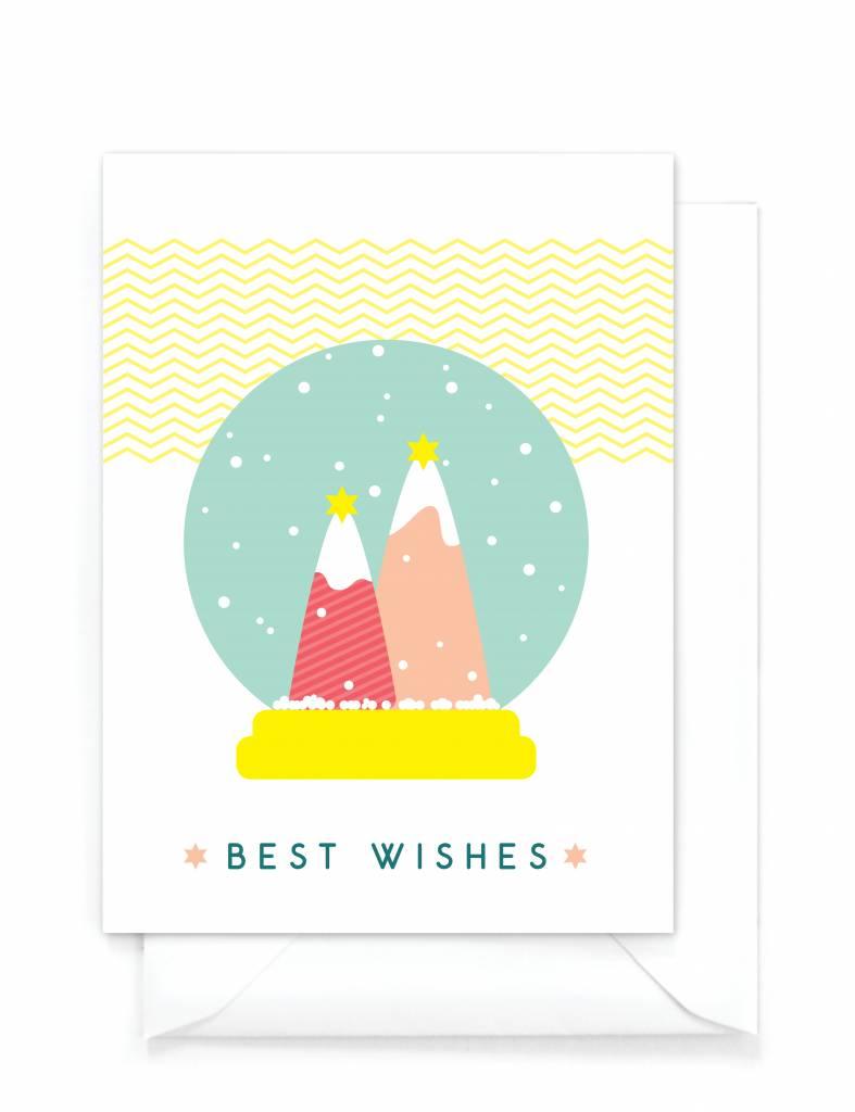 """Vrolijke kerstkaart  """"Sneeuwbol"""" - Best Wishes"""