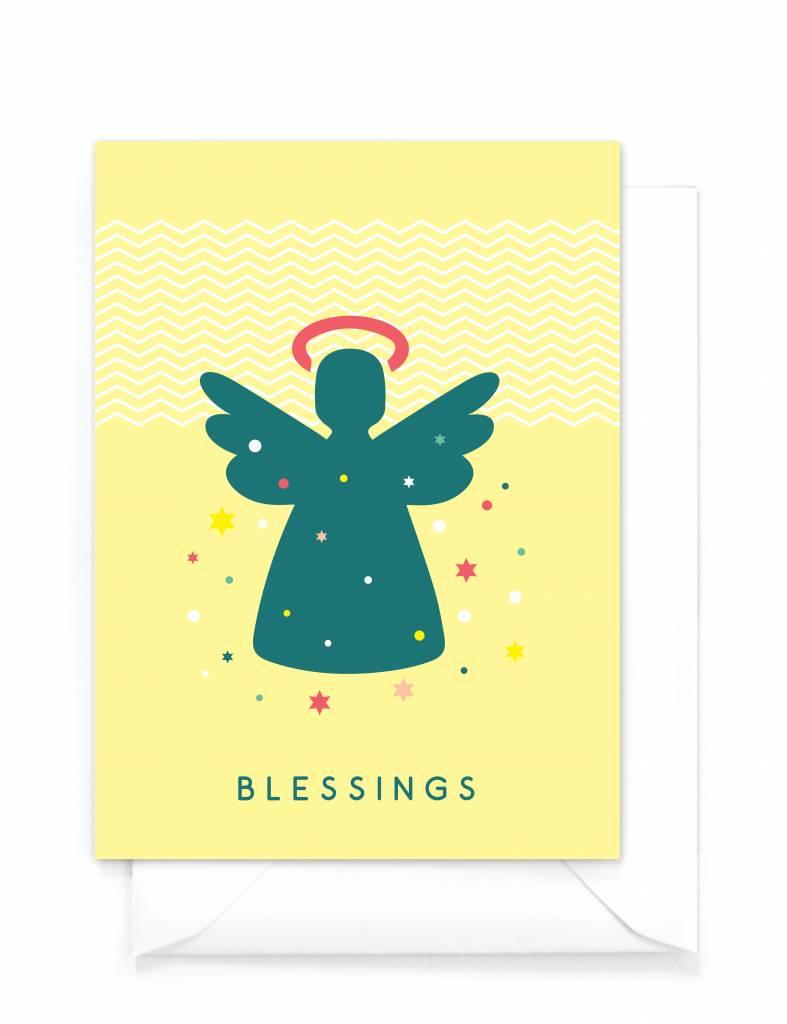 """Originele vrolijke kerstkaart  """"Angel"""" - Blessings"""