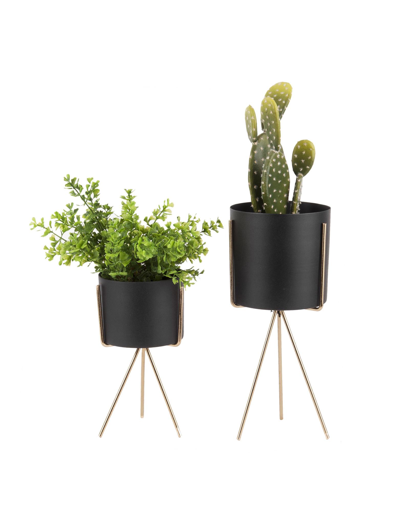 Set van 2 zwarte plantenstaanders - Present Time