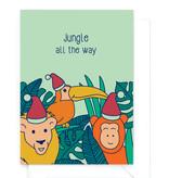 """Wenskaart - Kerst - """"Jungle all the way"""" - humor"""