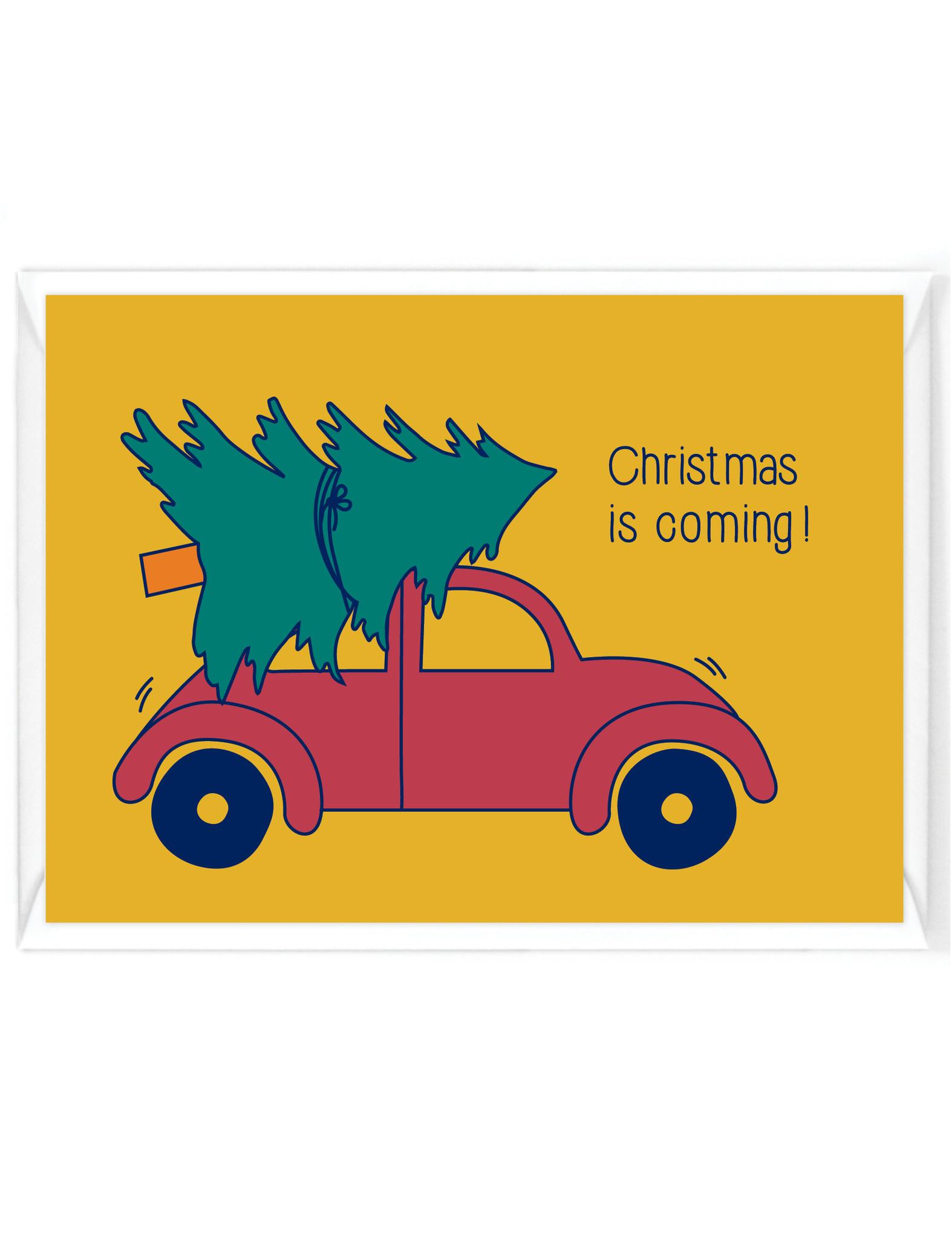 """Wenskaart - Kerst - """"Christmas is coming"""" - humor"""