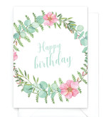 "Wenskaart botanical ""Happy birthday"""