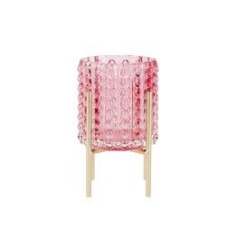 Roze theelicht op gouden staander