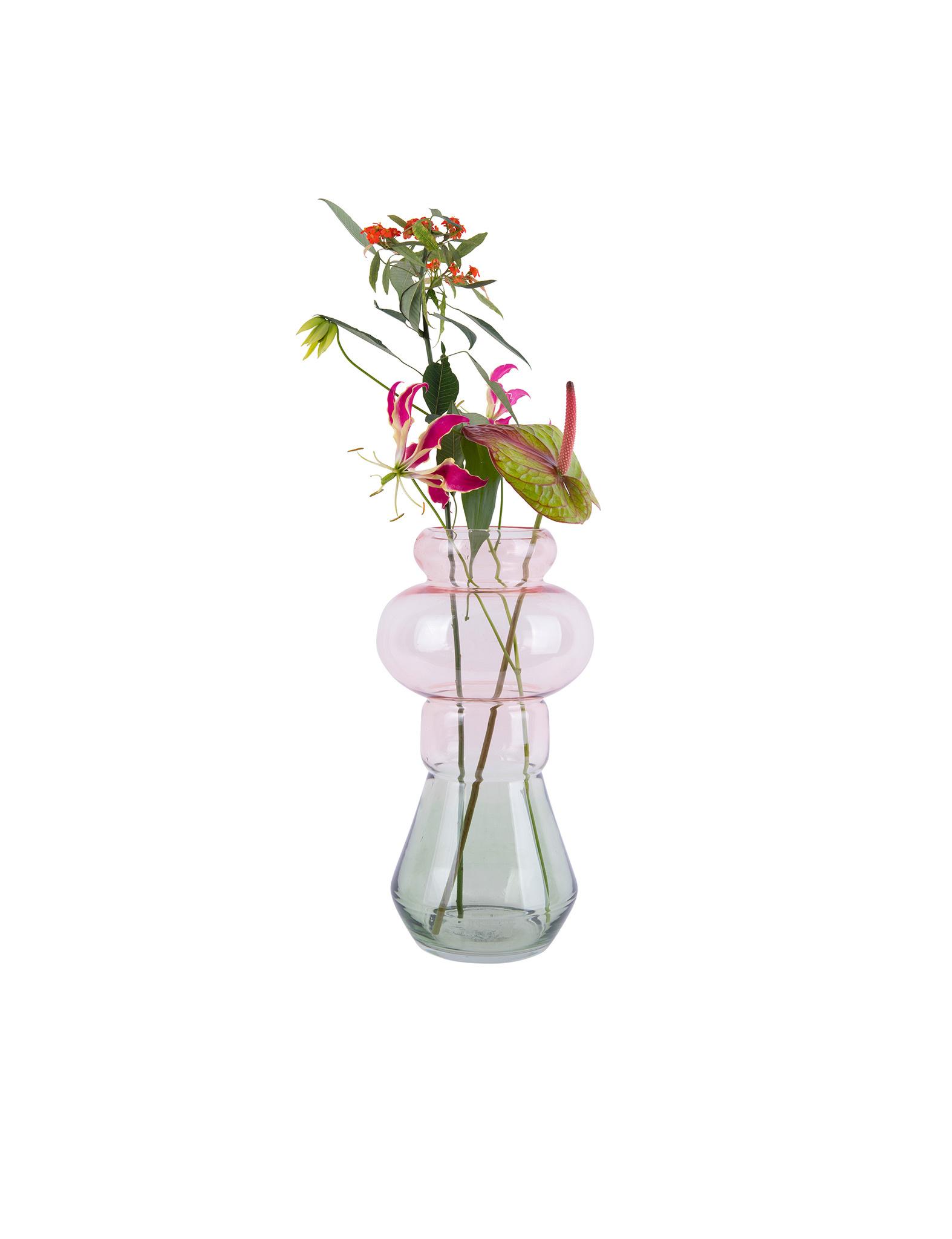 Originele roze groene vaas van Present Time