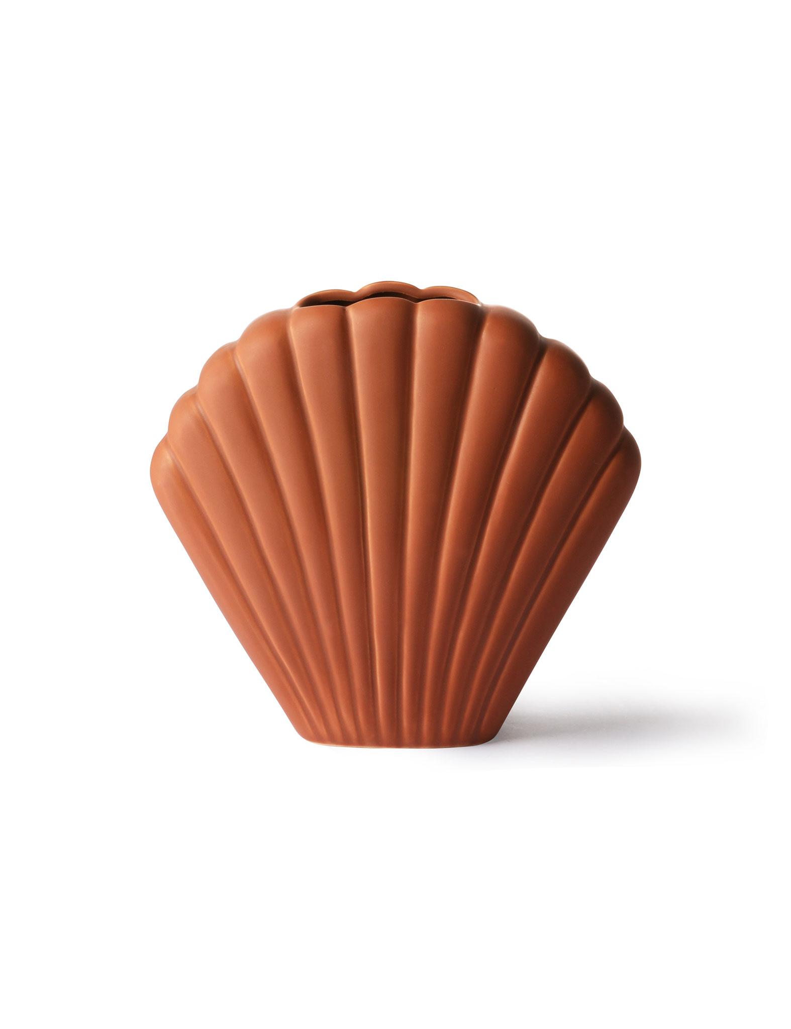 Schelpvormige vaas medium - bruin - HK Living