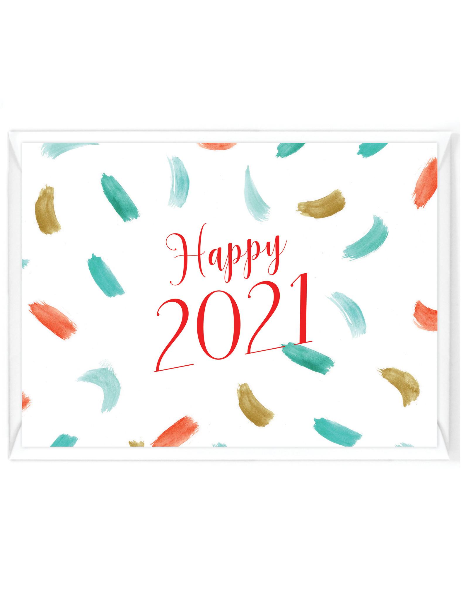 Wenskaart - Nieuwjaar - happy-2021 - aquarel