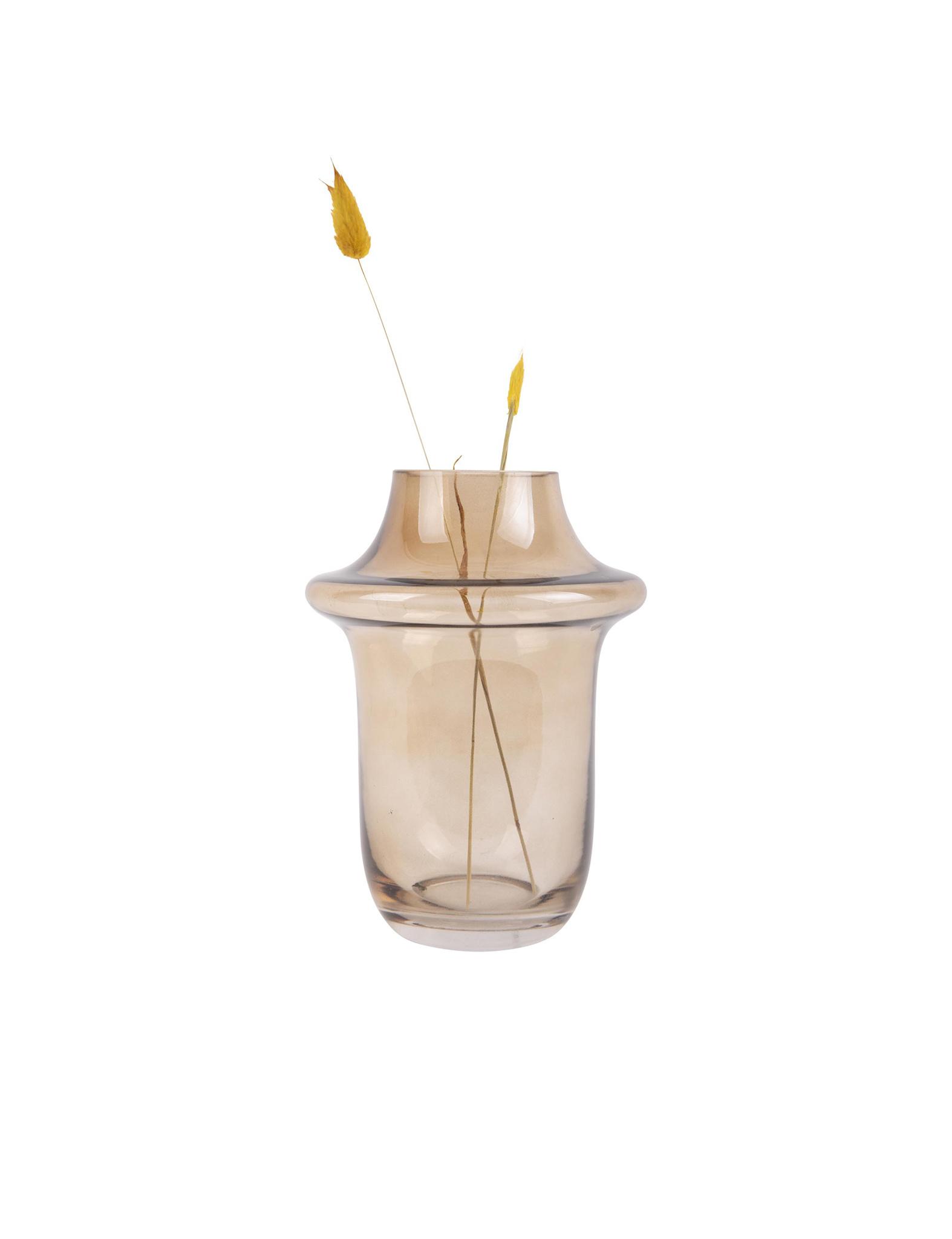 Bruine glazen vaas van Present Time