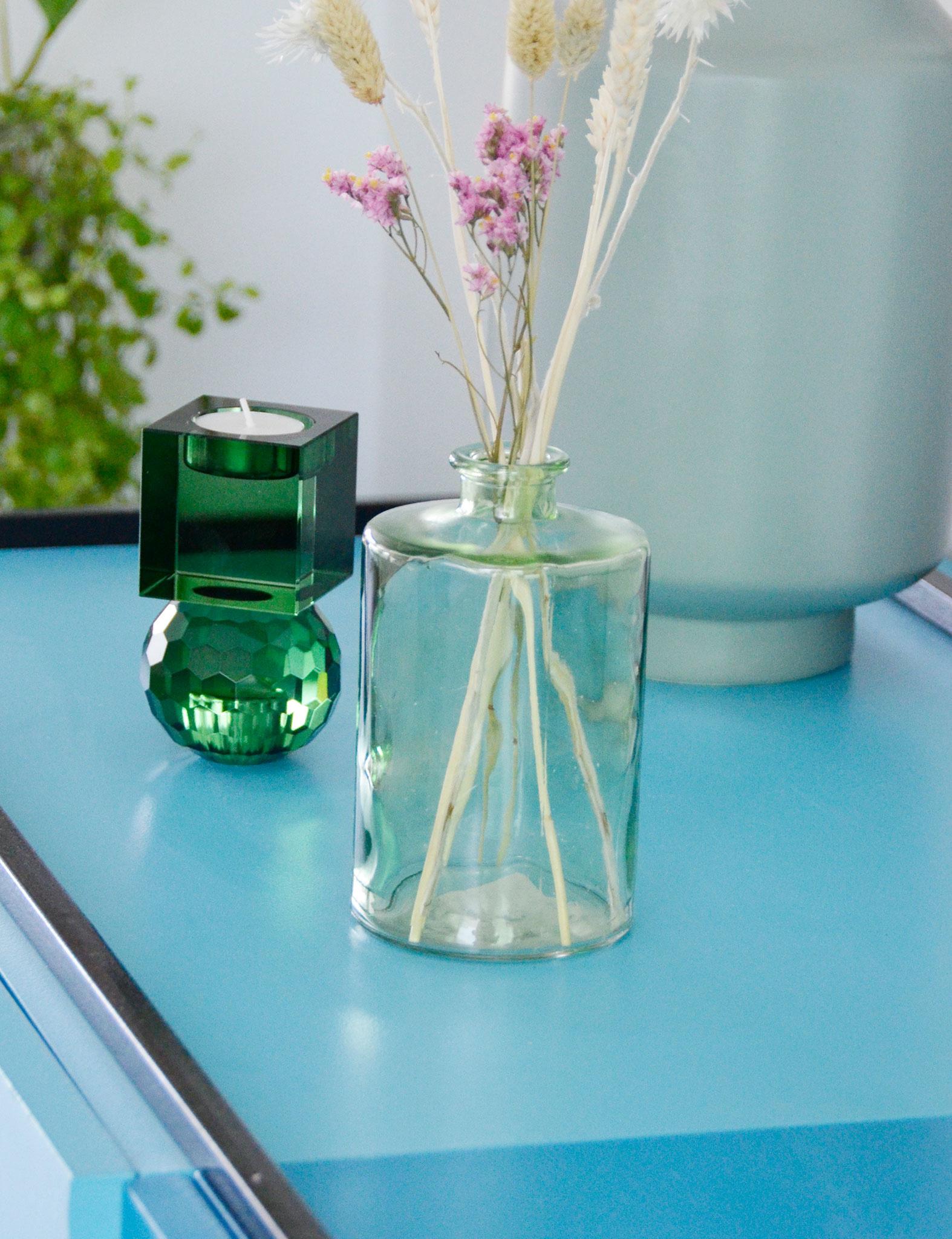 Glazen groene bloemenvaas