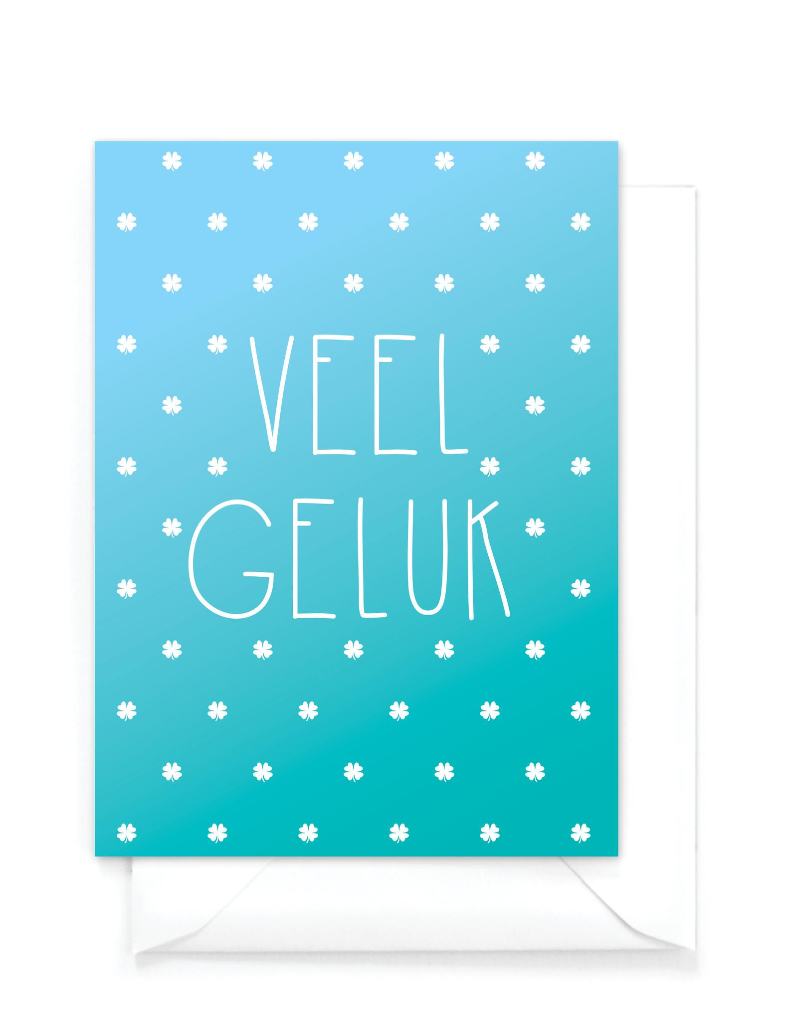 """Wenskaart gradient - """"Veel geluk"""""""