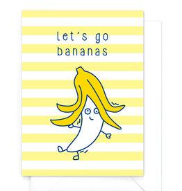 """Wenskaart Food """"Let's go bananas"""""""