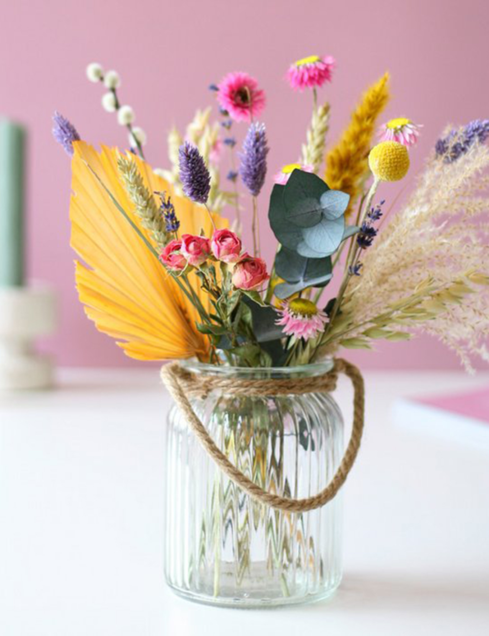 Boeket droogbloemen - pastel