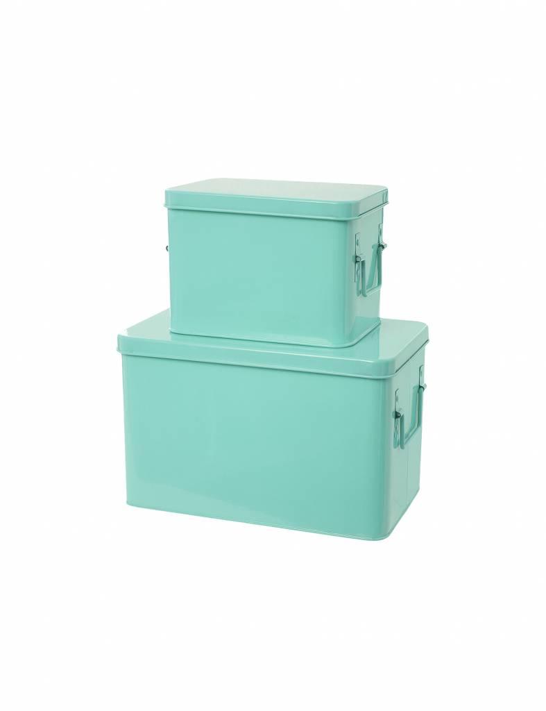 "Set van 2 opbergdozen ""Storage boxes"" in mint"