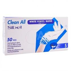 Sibel Guantes de vinilo blanco pequeños 50 piezas