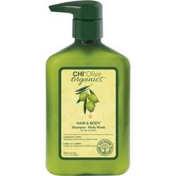 CHI Naturals con olio d'oliva Shampoo per capelli e bagnoschiuma 340ml