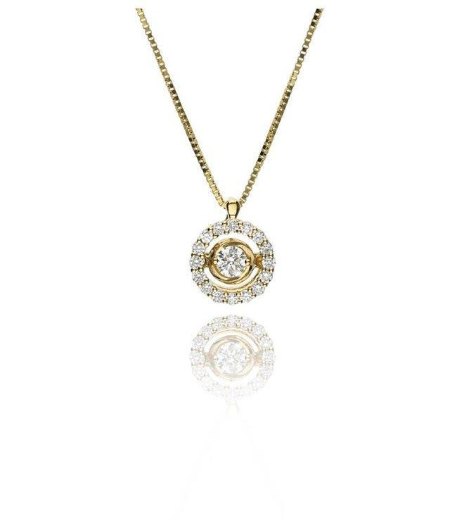 Zazare Geelgoud swinging Diamant hanger 18K