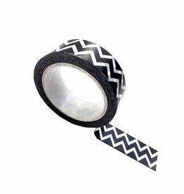 Zoedt Masking Tape Zwart Met Witte Zigzag