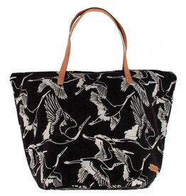 Zusss Shopper Canvas Vliegende Vogels Zwart
