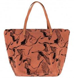 Zusss Shopper Canvas Vliegende Vogels Brique
