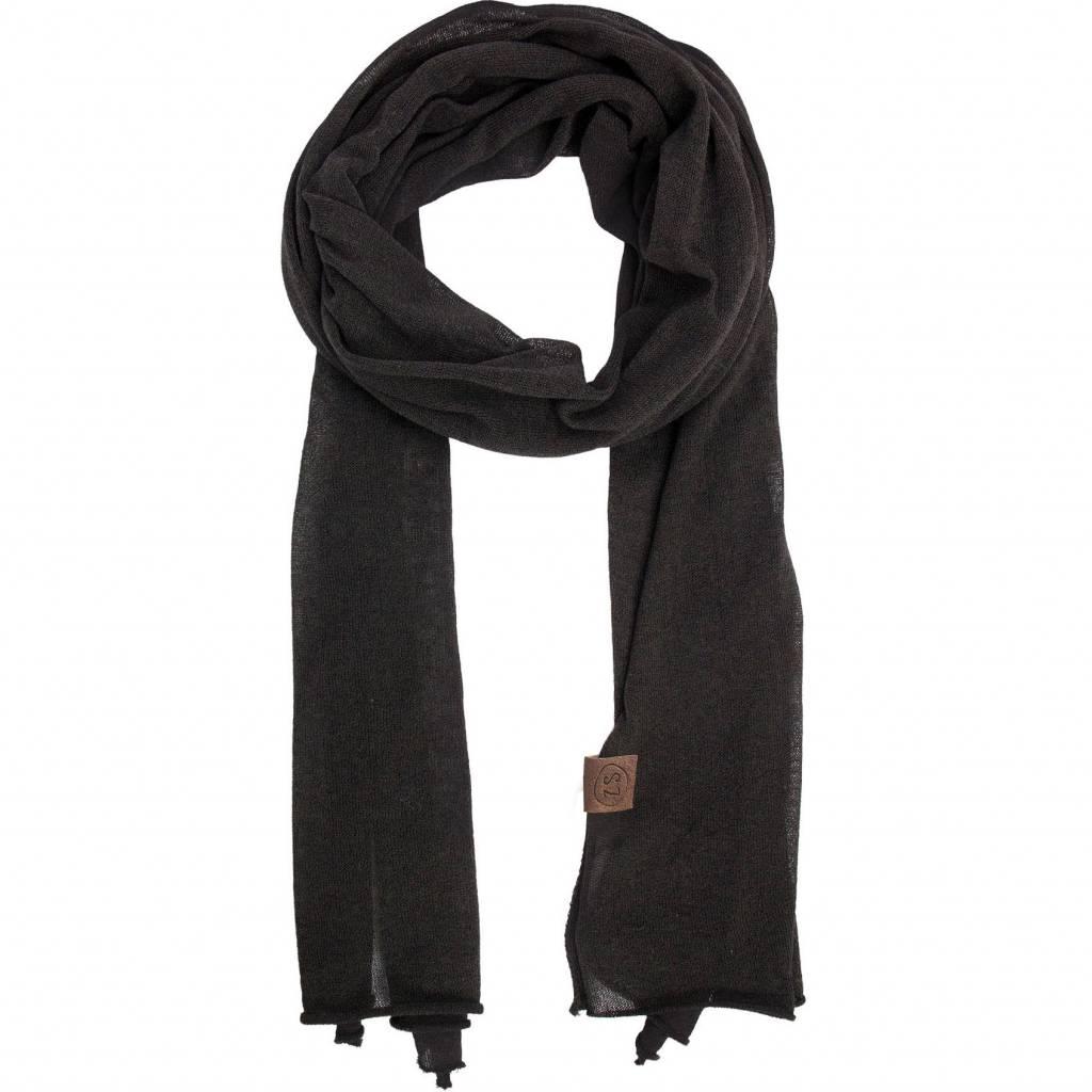Zusss Fijngebreide Lange Sjaal Off-Black
