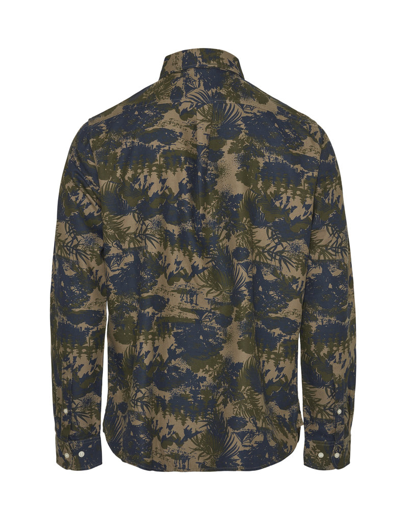 KNOWLEDGECOTTON APPAREL Knowledge Cotton Apparel Larch Casual Fit Tencel AOP Shirt - OCS/VEGAN Burned Olive