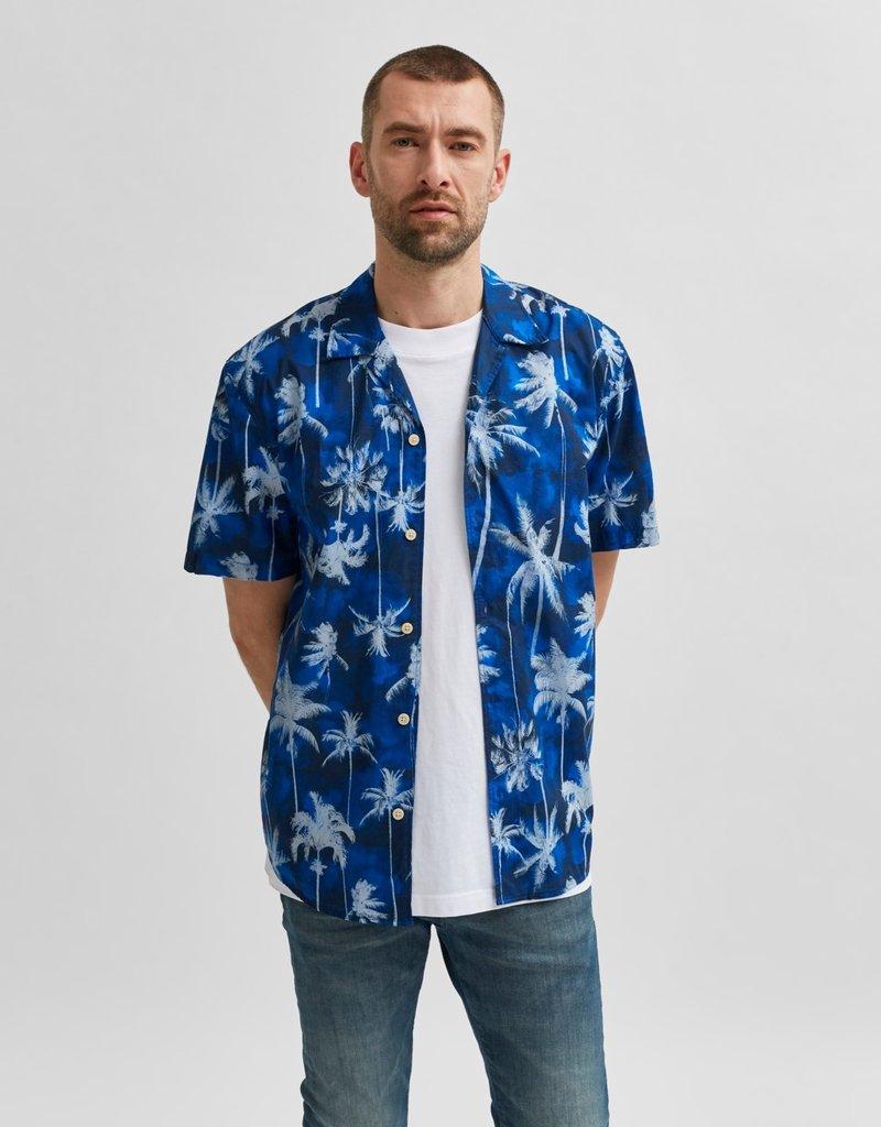 SELECTED HOMME SlhRelaxsimon Shirt SS Dark Blue