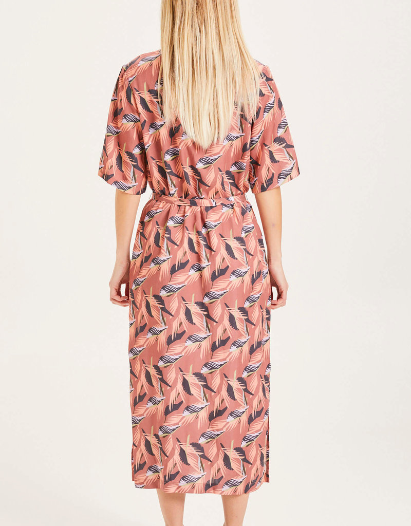 KNOWLEDGECOTTON APPAREL Orchid Floral Print Mid Lenght Tencel Dress Marsala