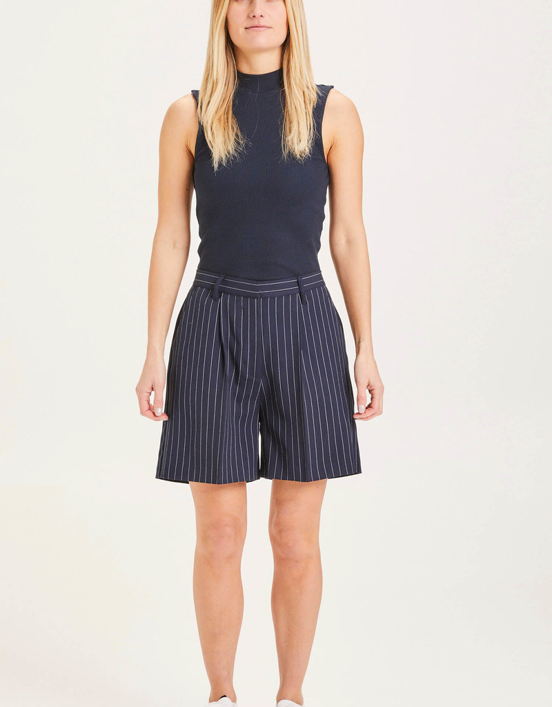 KNOWLEDGECOTTON APPAREL Posey Pin Stripe Wide Shorts - GRS/Vegan Total Eclipse