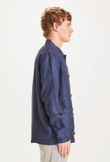 KNOWLEDGECOTTON APPAREL Pine Linen Overshirt Total Eclipse