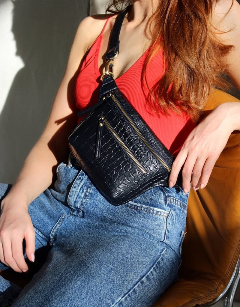 OH MY BAG AMSTERDAM Beck's Bumbag Navy Croco Leather