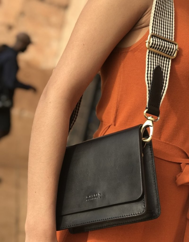 OH MY BAG AMSTERDAM Audrey Mini Black Classic Leather - Checked Strap
