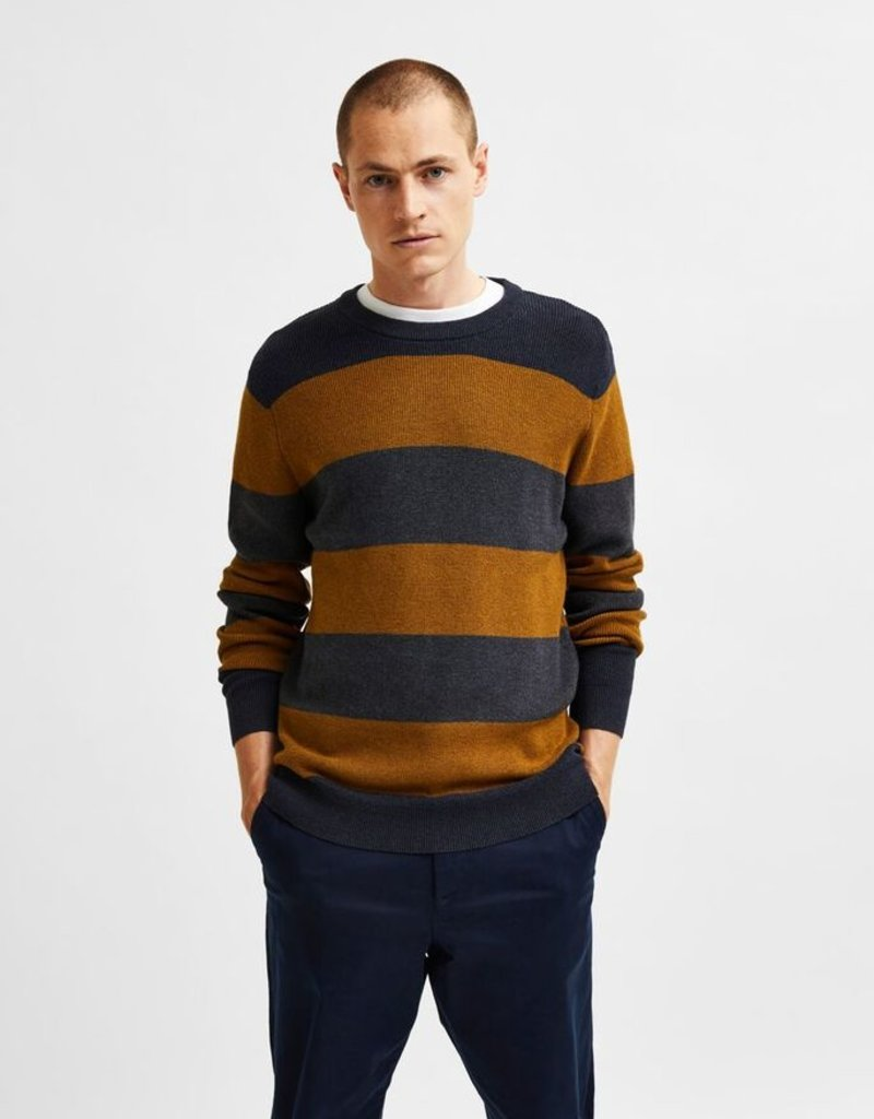 SELECTED HOMME Slhchase LS Knit Crew Curry/Dark Grey
