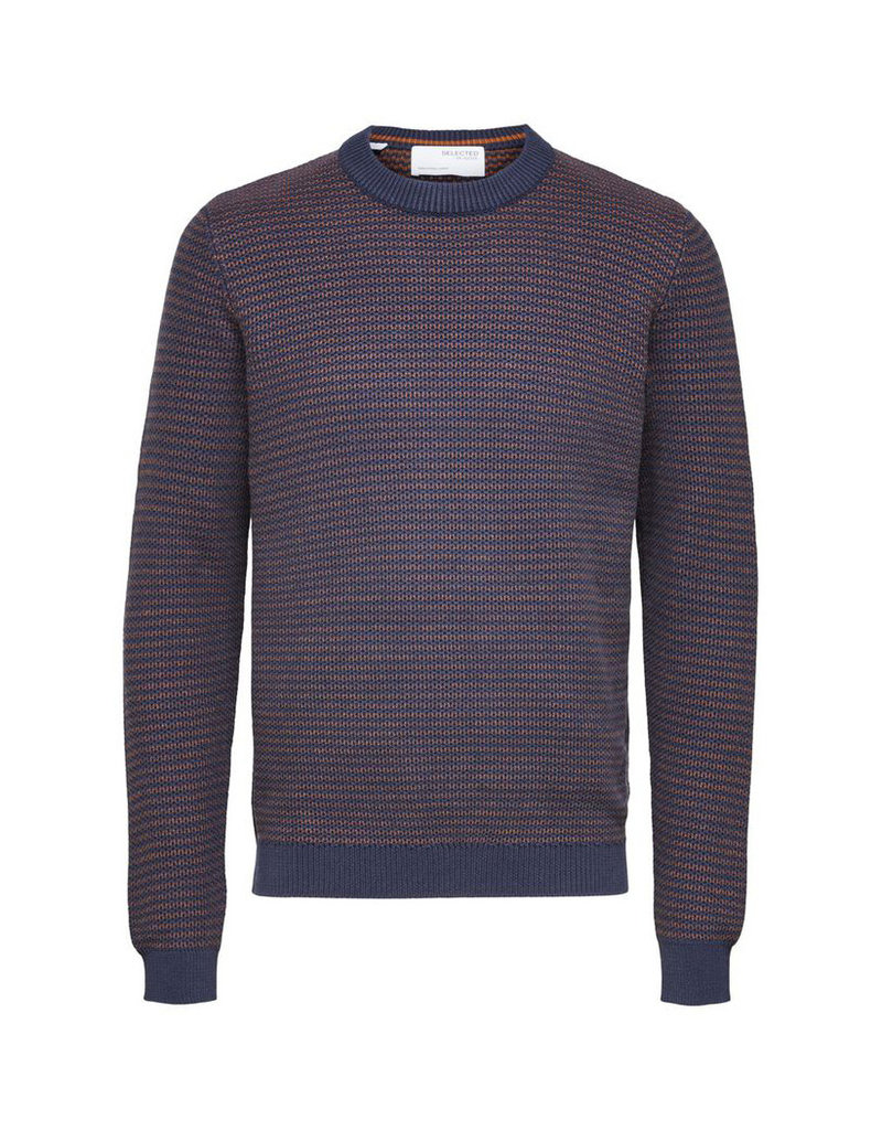 SELECTED HOMME Slhwes LS Knit Crew Navy/Monks Robe