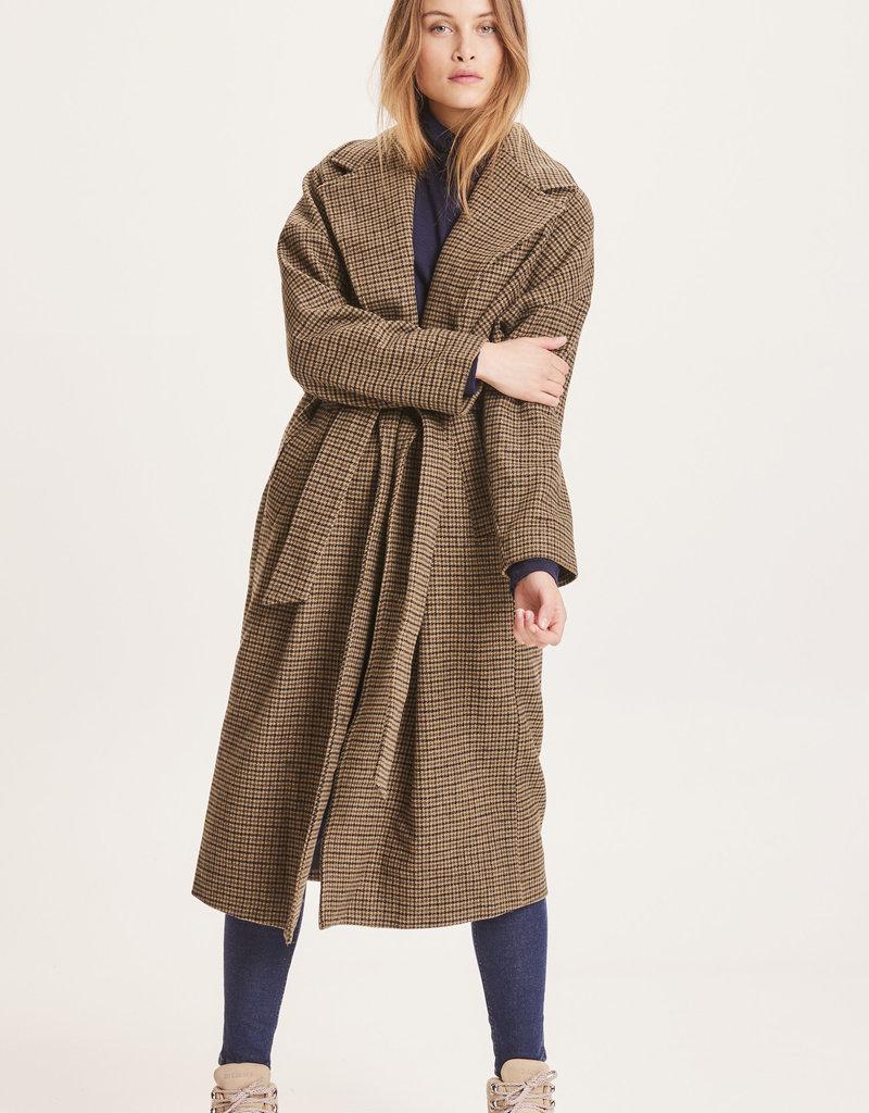 KNOWLEDGECOTTON APPERAL Poppy Wool Label Coat - GRS Kelp