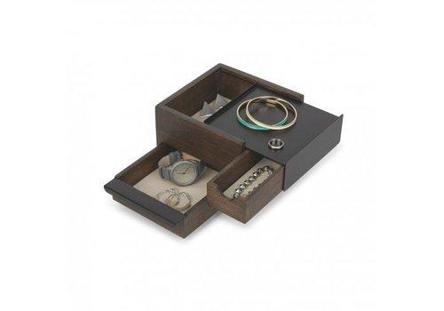 Mini stowit juwelry box black/walnut