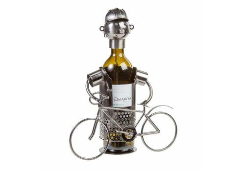 Metalen wijnfleshouder Fietser