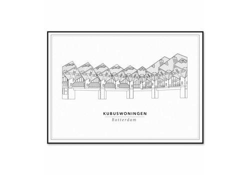 Cityprints Kubuswoningen 30x40cm