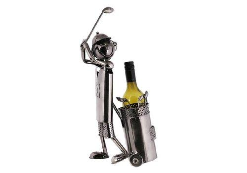Metalen wijnfleshouder Golfer