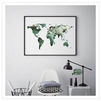 Artprint A2 - World map green