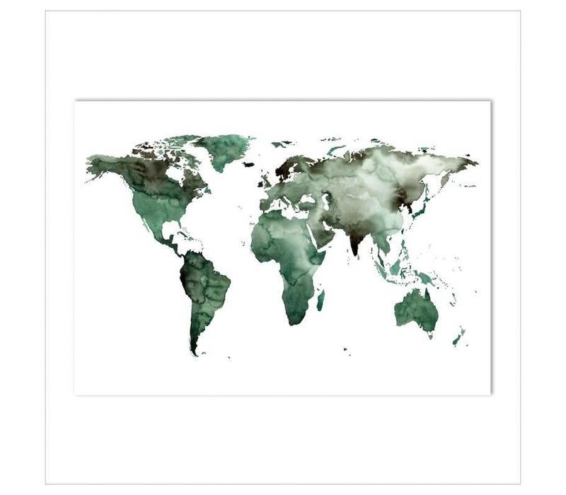 Artprint A3 - World map green